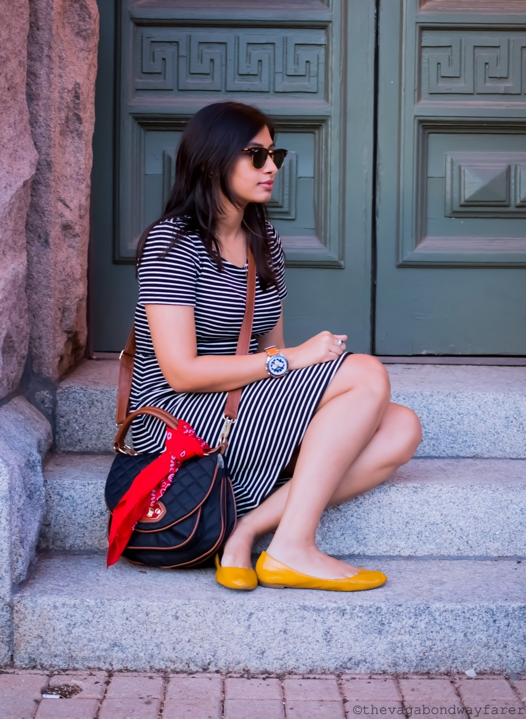 Parisian Stripes/Madewell dress - The Vagabond Wayfarer