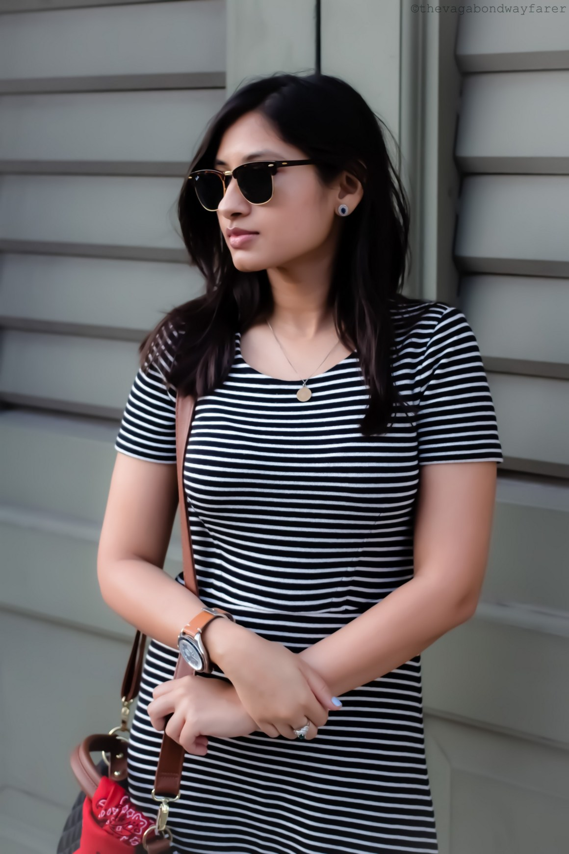 Wearing Ray-Ban Clubmasters, Madewell dress. Parisian Stripes - The Vagabond Wayfarer