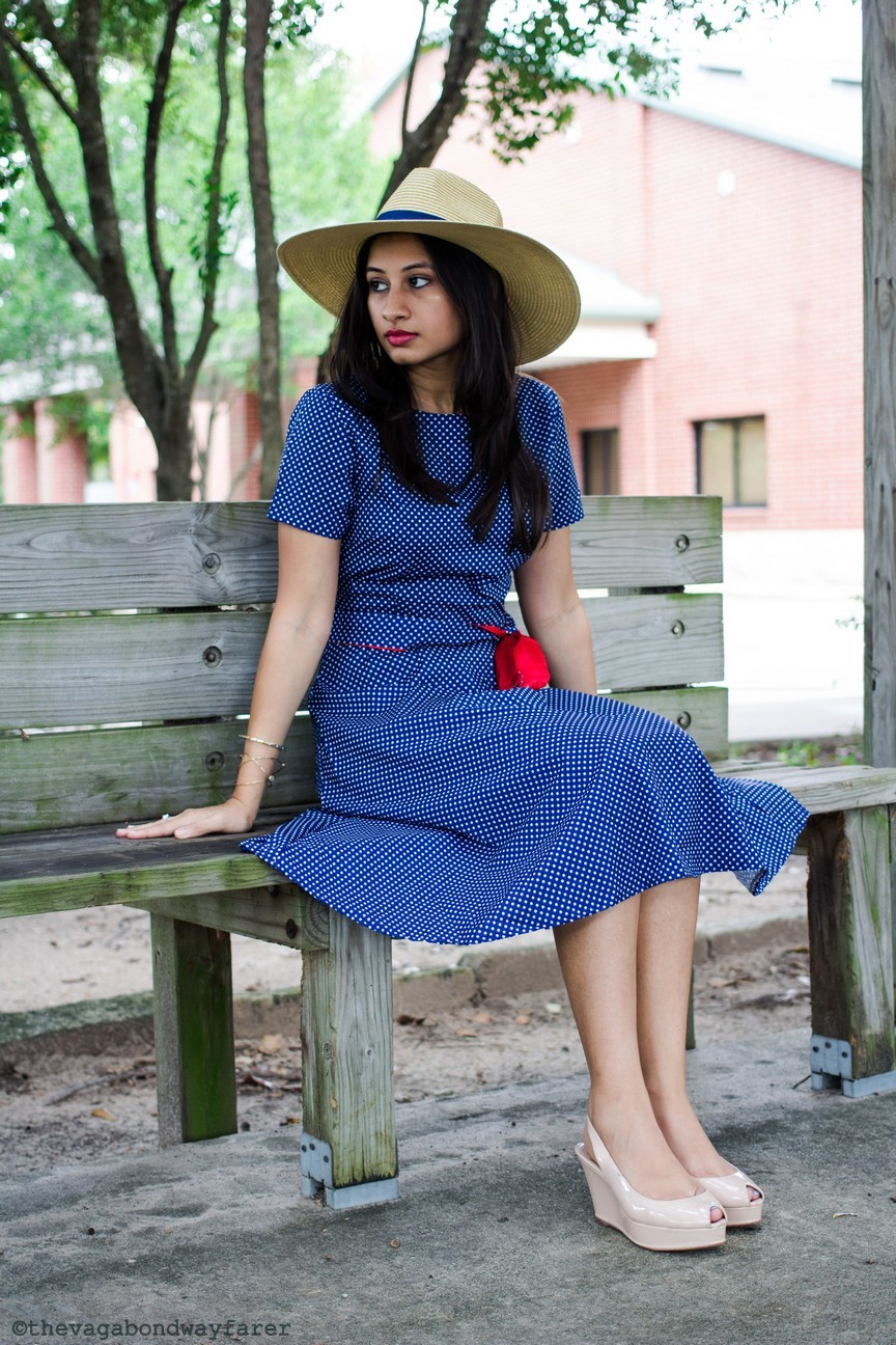 Romwe Polka Dot Dress, Mango hat, Zara wedges - The Vagabond Wayfarer