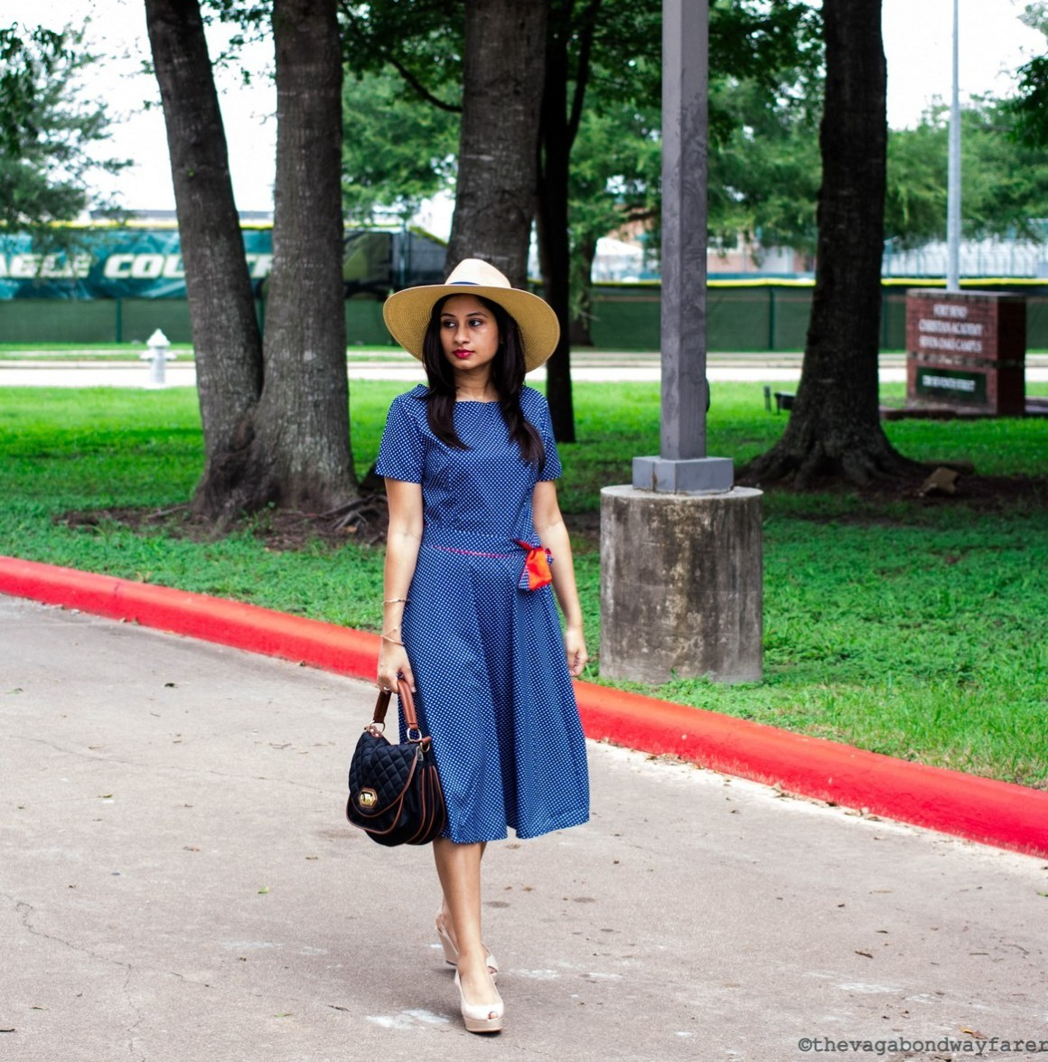 Romwe Polka Dot Dress, Steve Madden bag, Zara wedges, Mango hat - The Vagabond Wayfarer