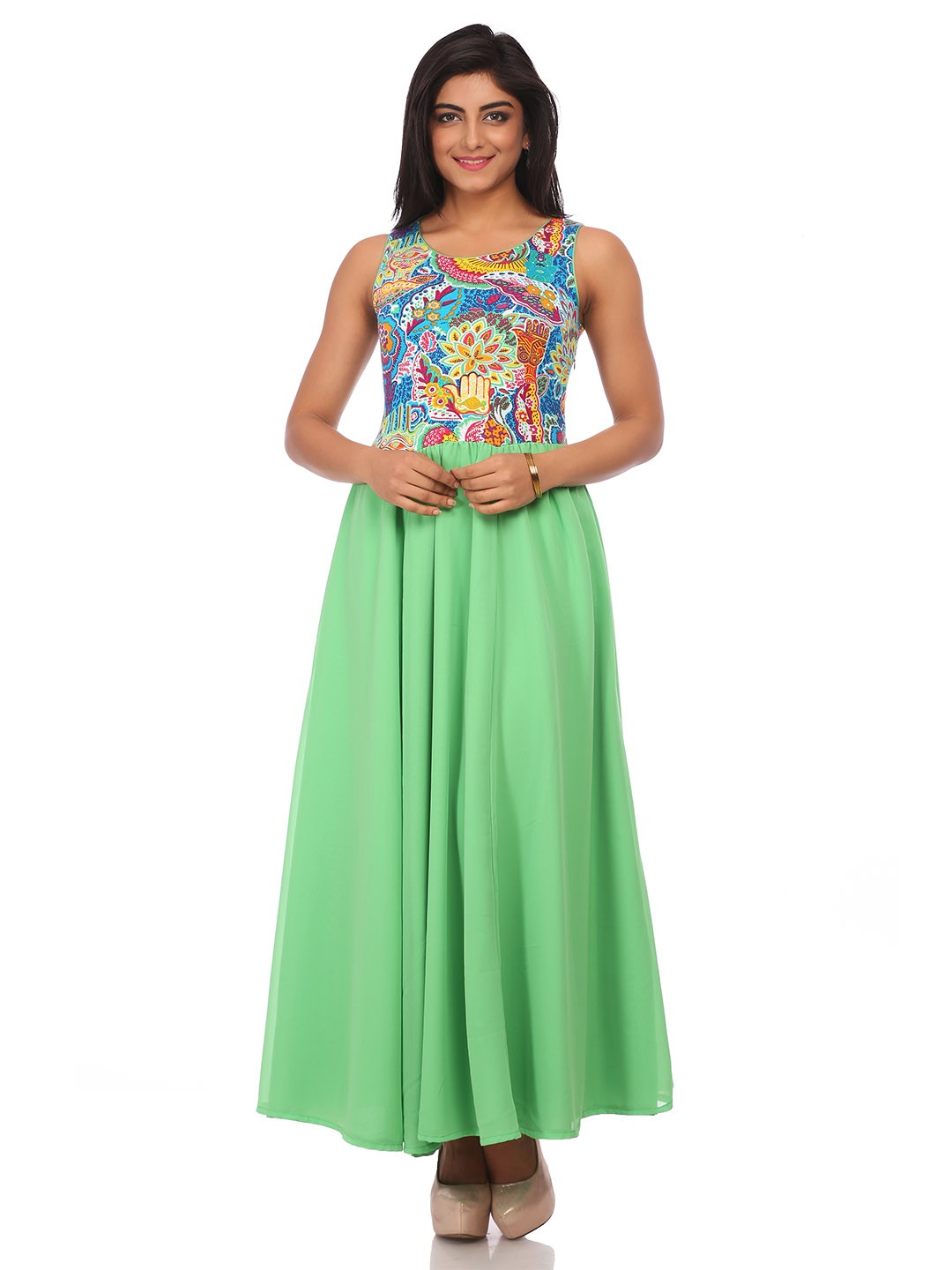 BIBA Turquoise Flared Modal Dress