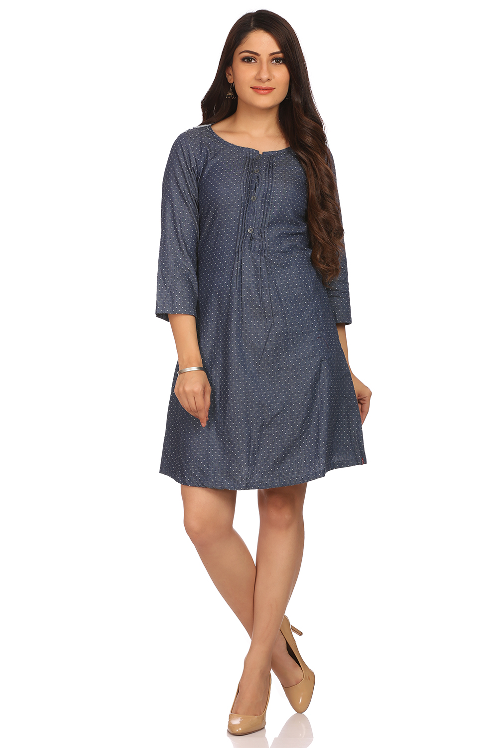 Blue Flared Cotton Dress
