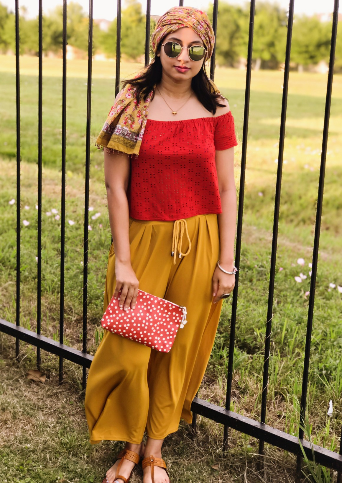 Headscarf - Anokhi, Red off-shoulder top - Zara, Madewell pouch, Yellow pants - Zaful