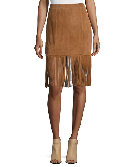 Suede Skirt with Fringe Hem