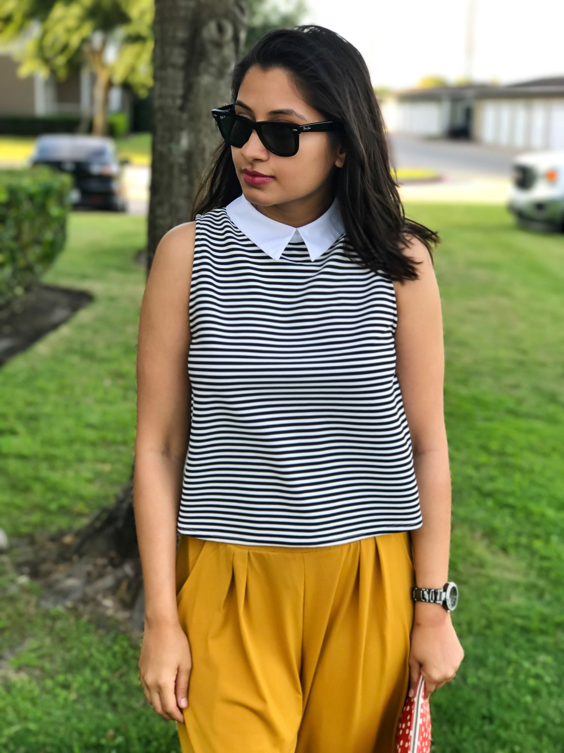 Collared striped top from Zara, Ray-Ban wayfarer