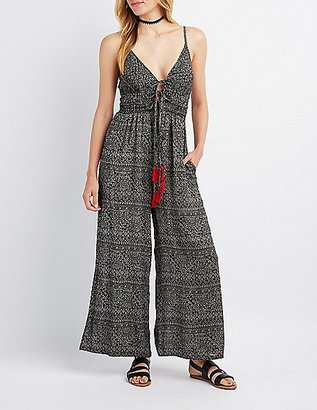 Printed Tie-Front Wide-Leg Jumpsuit