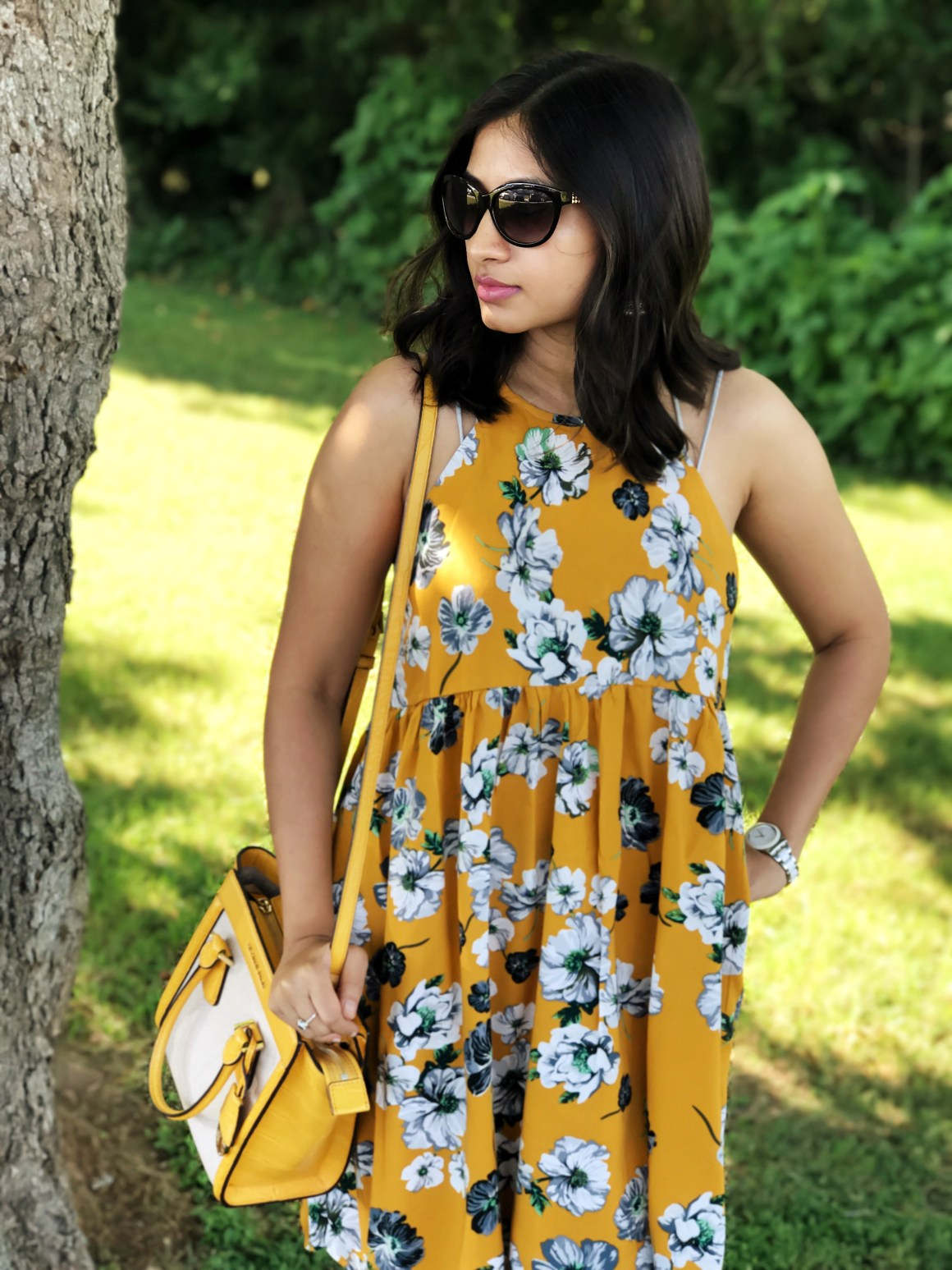 Yellow Floral Swing Dress - Zaful