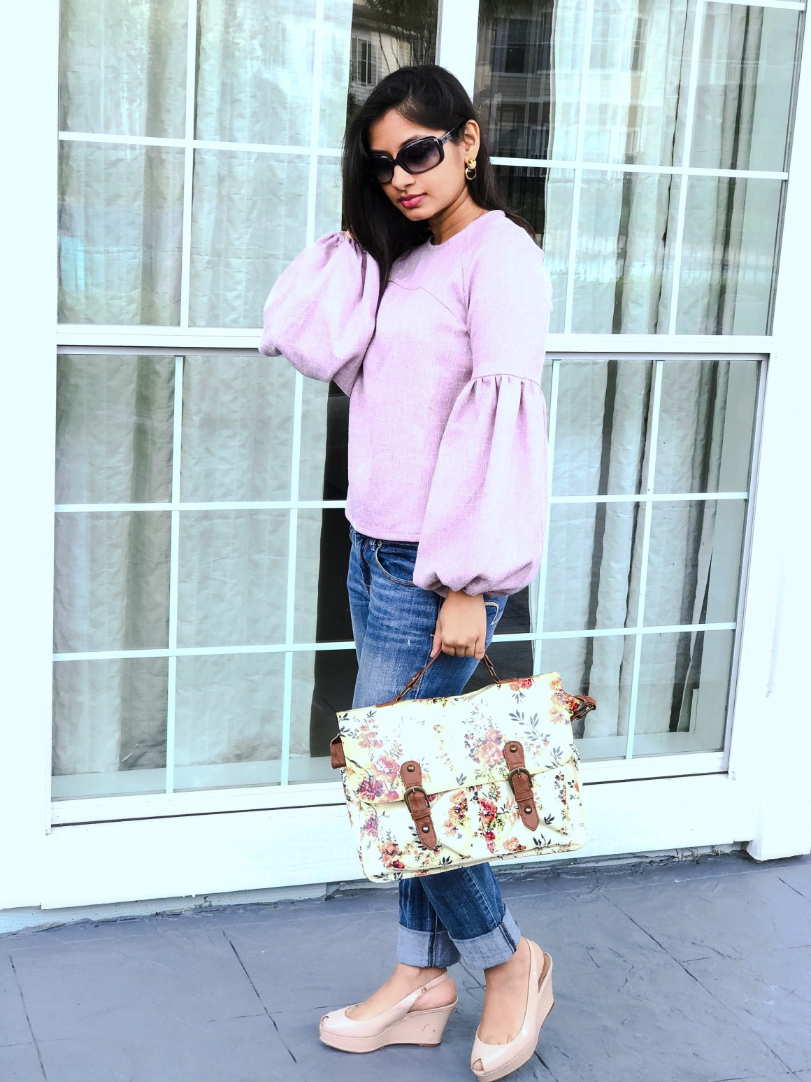 Dramatic Sleeves - Shein top, Emporio Armani sunglasses, American Eagle jeans Primark floral bag, Zara wedges.