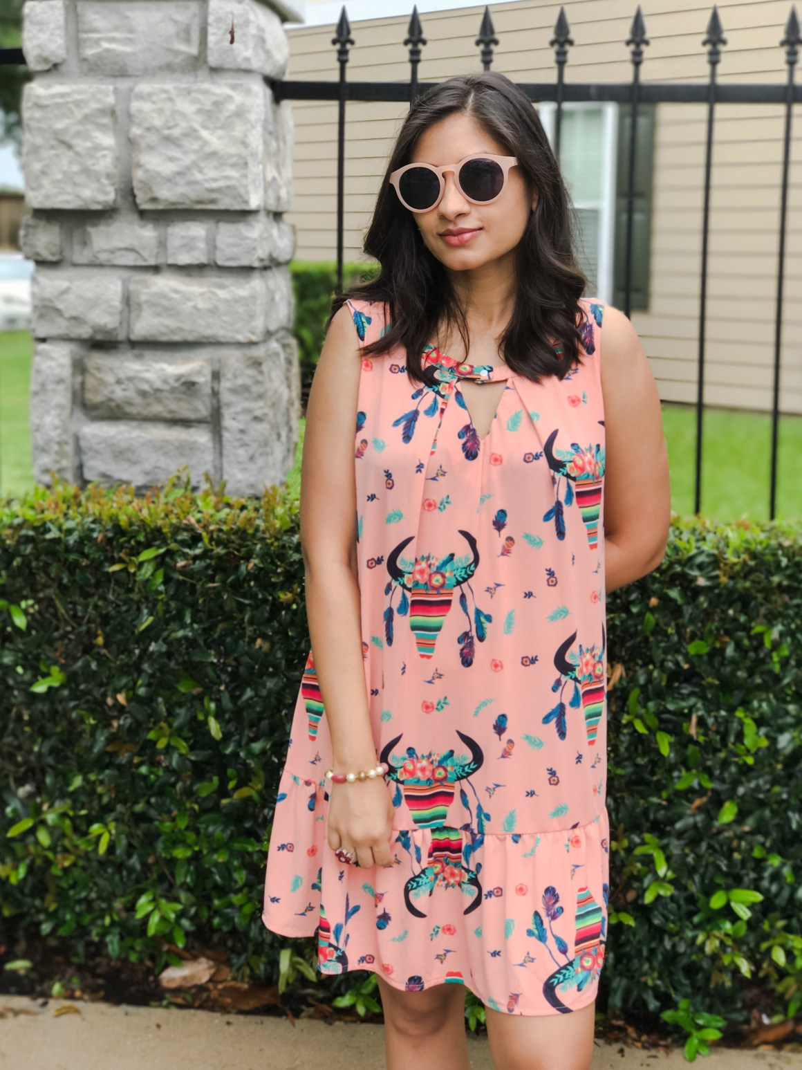 Quirky Print Dress  - Giddy Up Glamour, J. Crew sunglasses