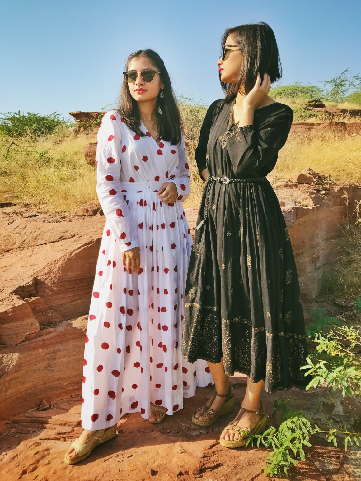 Of Summer Days & Cotton Dresses | Polka dot dress - Nicobar, Black dress - Anokhi