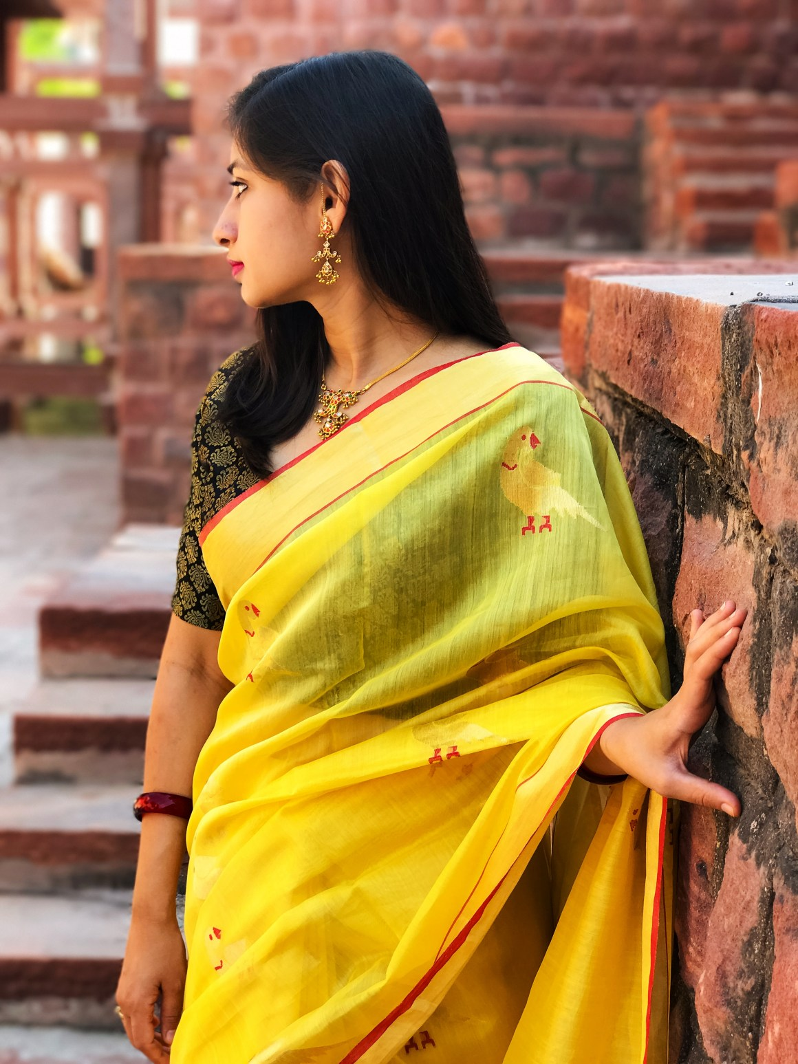 Celebrating the Saree - Yellow Chanderi saree with black brocade blouse