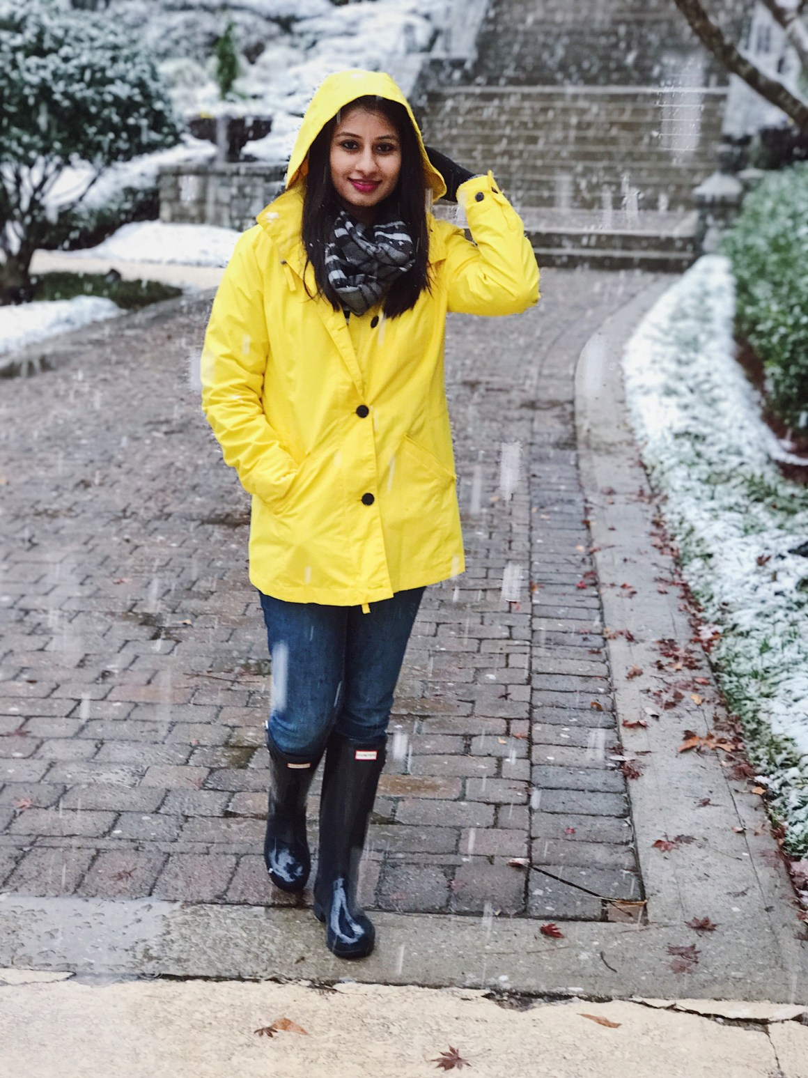 Let it Snow - Land's End Yellow Jacket, Hunter Tour Boots