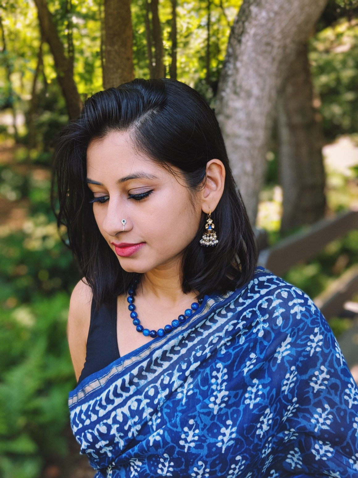 Indigo saree, nose pin