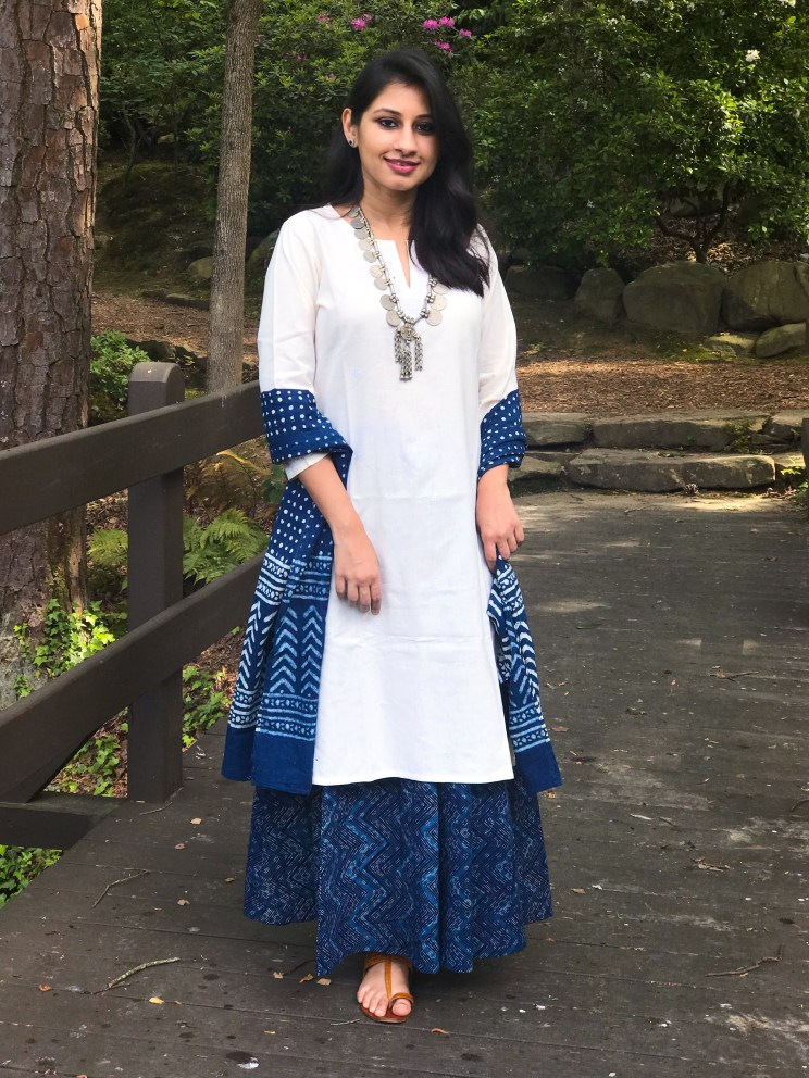 indigo skirt and scarf
