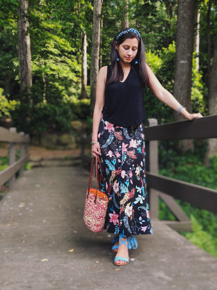 Madewell top, Floral skirt, Straw bag, Madewell bandana