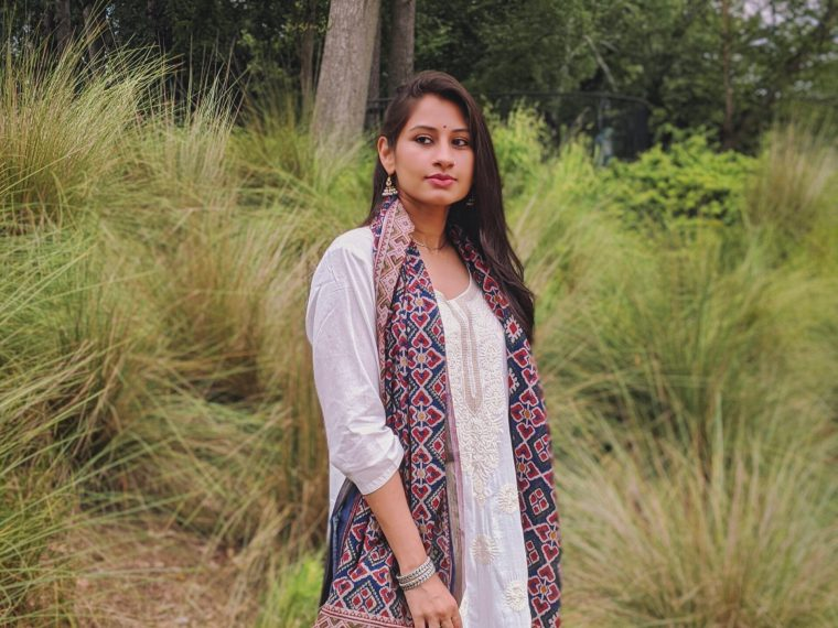 Indian White kurta and patola dupatta