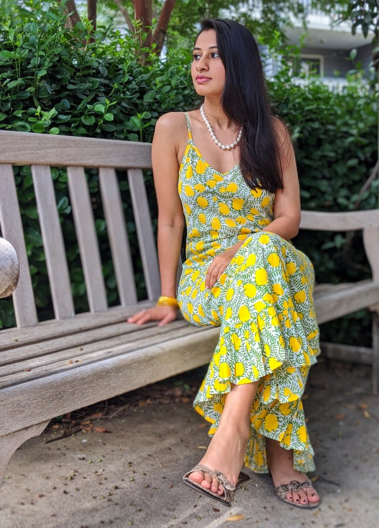 Lemon print slip dress