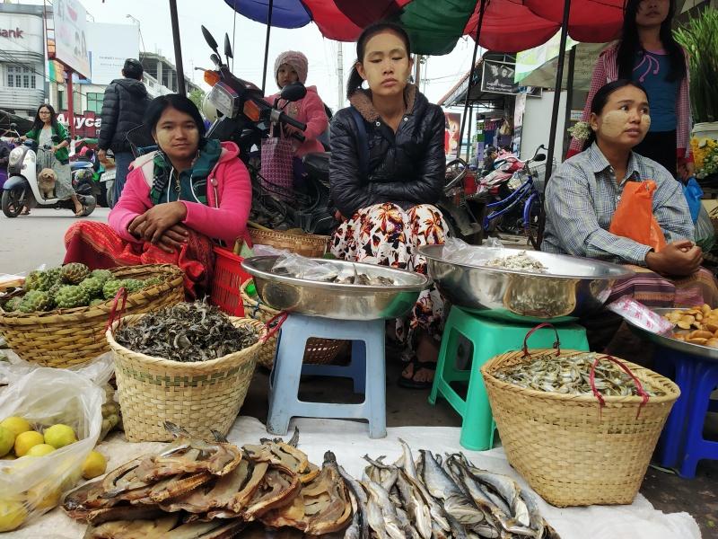 Yangon Bustling Market