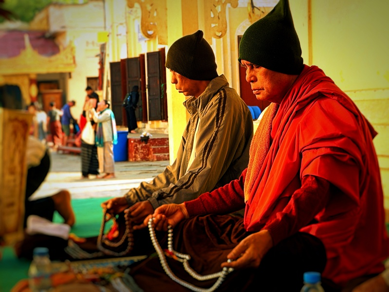 Monks At Shwedagon Pagoda, Yangon