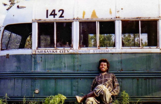 Chris McCandless' self-portrait outside the abandoned Fairbanks City Transit System Bus 142 on the Stampede Trail in Alaska.