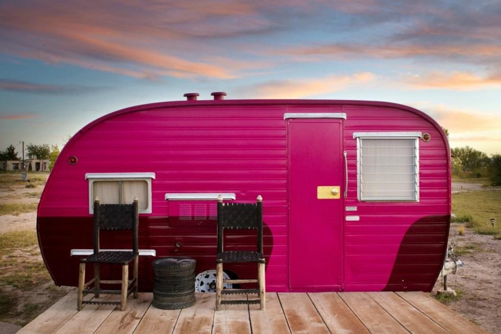 El Cosmico trailer in Marfa, Texas, United States.