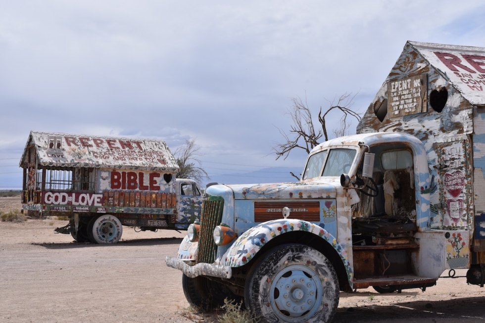"Painted trucks at ""Salvation Mountain,"" California."