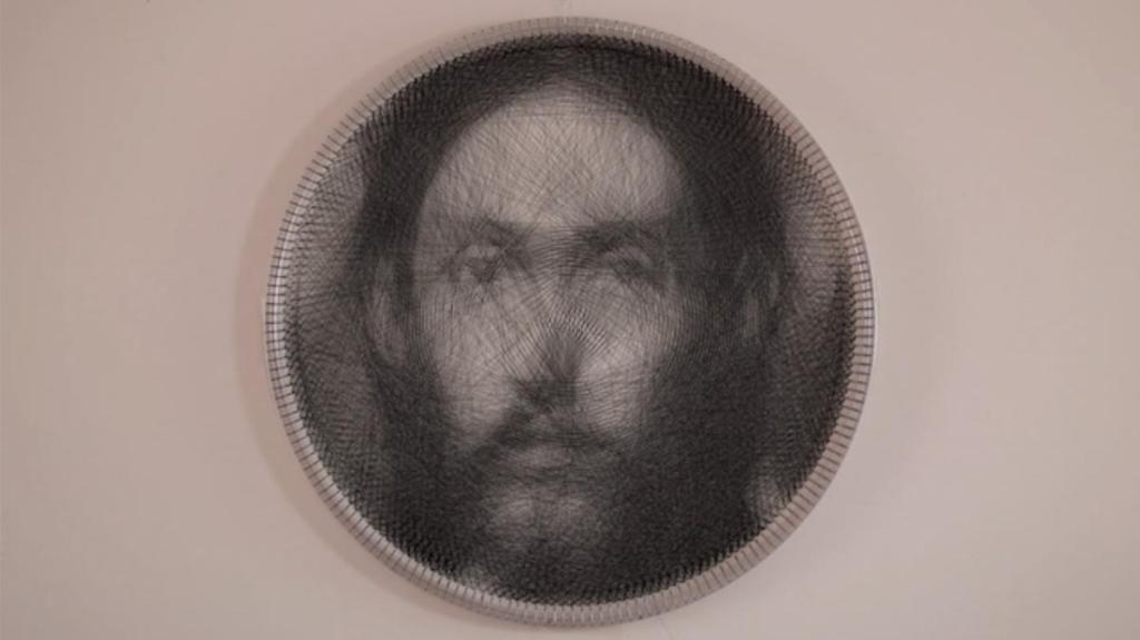 Petros Vrellis' knitting pattern inspired by El Greco's Christ.
