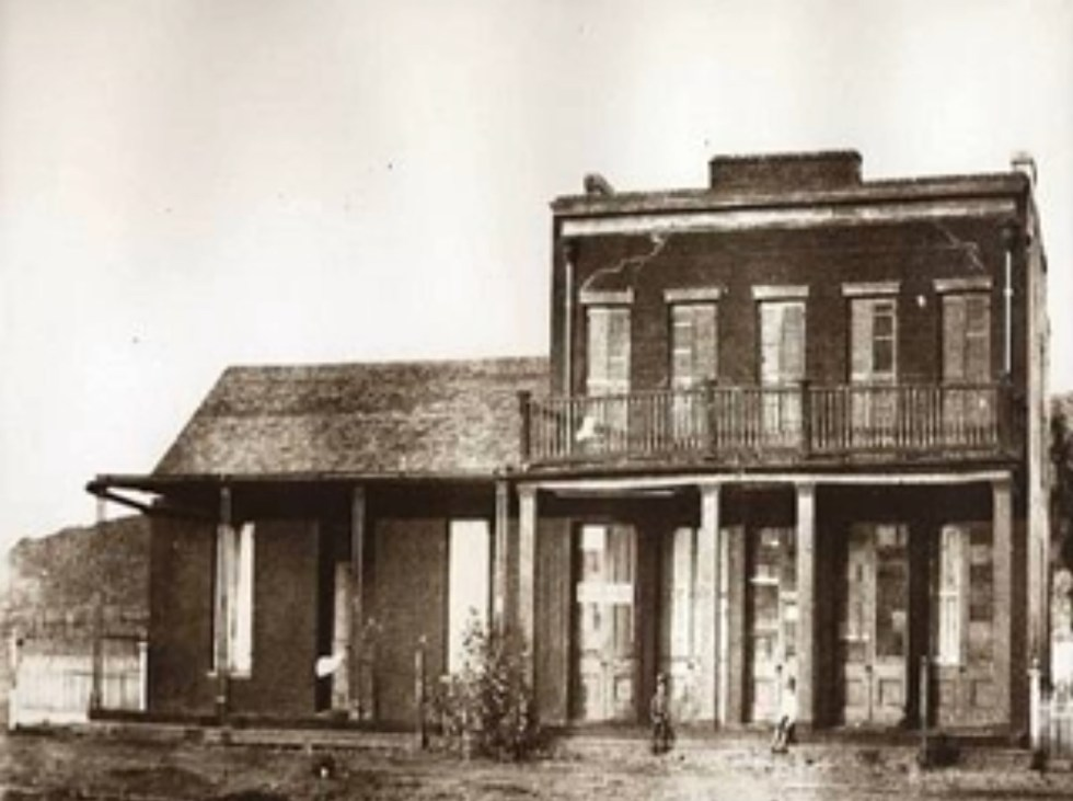 """Old photo of """"The Whaley House"""" in San Diego, California."""