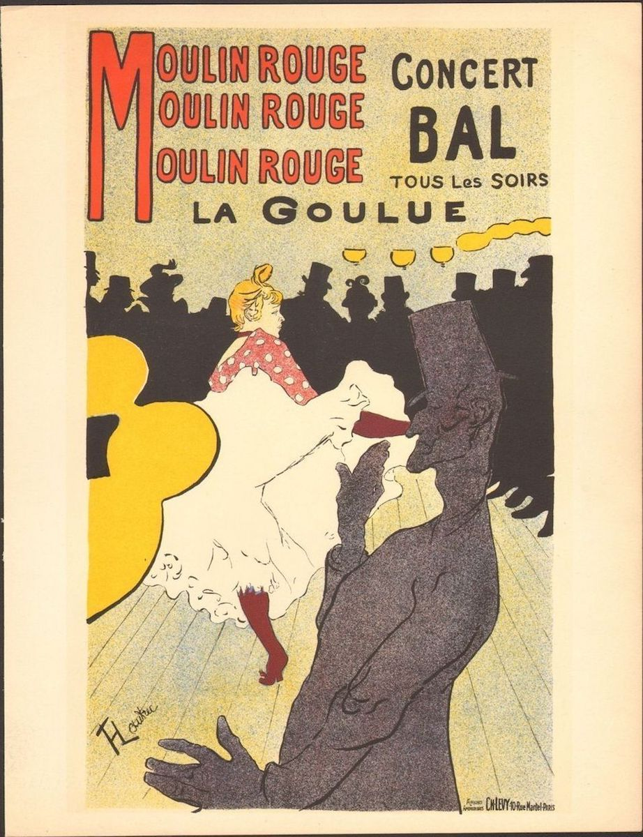 """""""Moulin Rouge: La Goulue,"""" a poster by French artist Henri de Toulouse-Lautrec, 1891."""