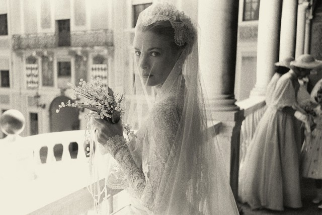 Grace Kelly at her wedding on April 19, 1956.