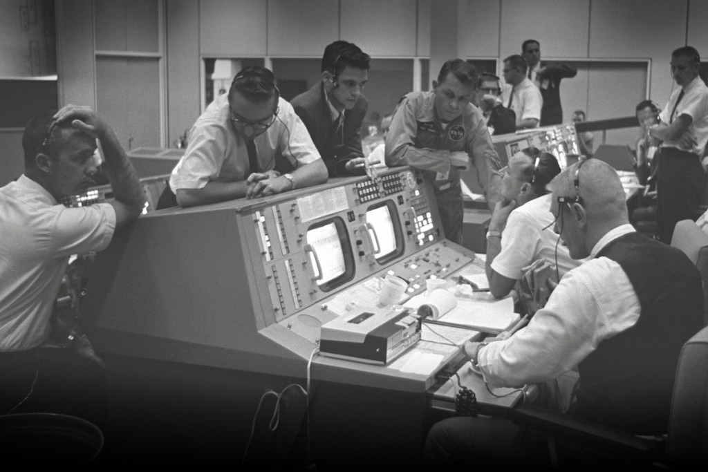 A glimpse to the past of Historic Mission Control, NASA Johnson Space Center, Houston, Texas