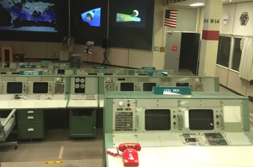 Historic Mission Control, NASA Johnson Space Center, Houston, Texas. Visible on the front wall is the original American flag set on the Moon's surface by the Apollo 17 crew. The flag was mounted on the lunar surface and saluted by the last astronauts to walk on the Moon.