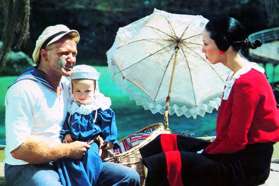 """Photoof Robin Williams portraying """"Popeye"""" and Shelley Duvall as """"Olive Oyl"""" taken during the 1980 movie's shootingsin Malta."""