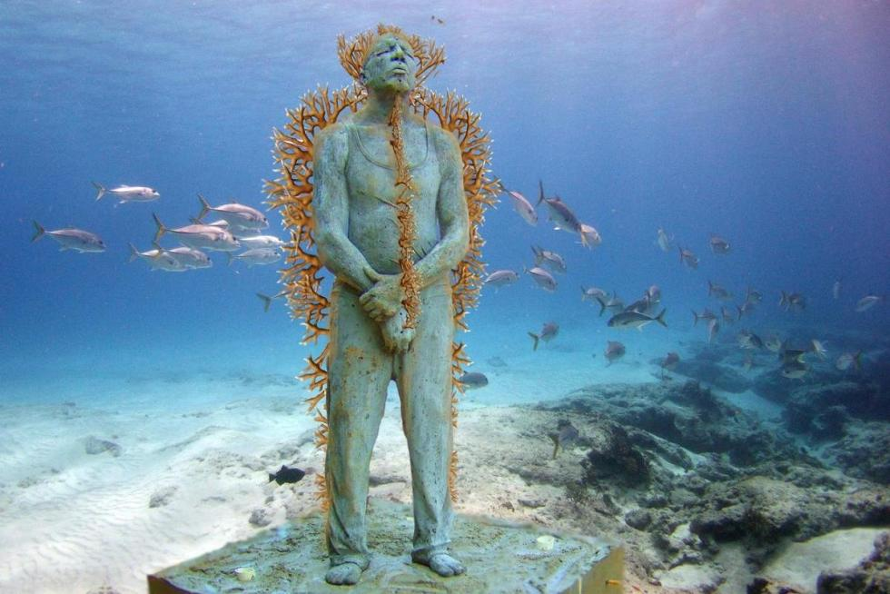 Underwater sculpture in Cancun, Mexico