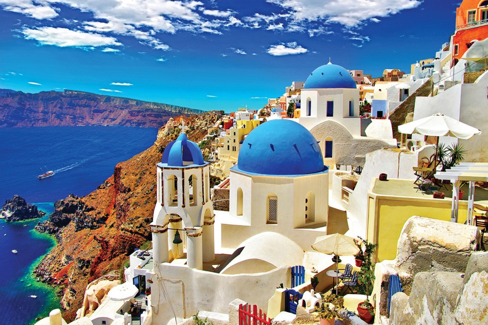 The island of Santorini (or Thira) is located in the southernmost part of Cyclades, about 120 miles (200 kilometers) southeast of Greece's mainland.