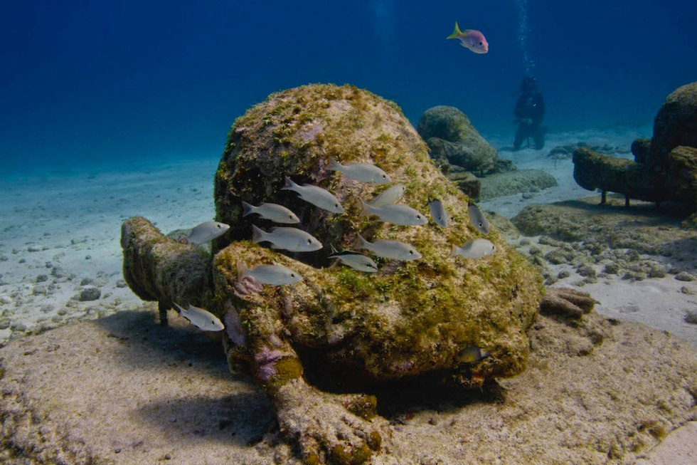 """""""The Banker"""" Underwater Sculpture in Salon Manchones by Jason DeCaires Taylor"""