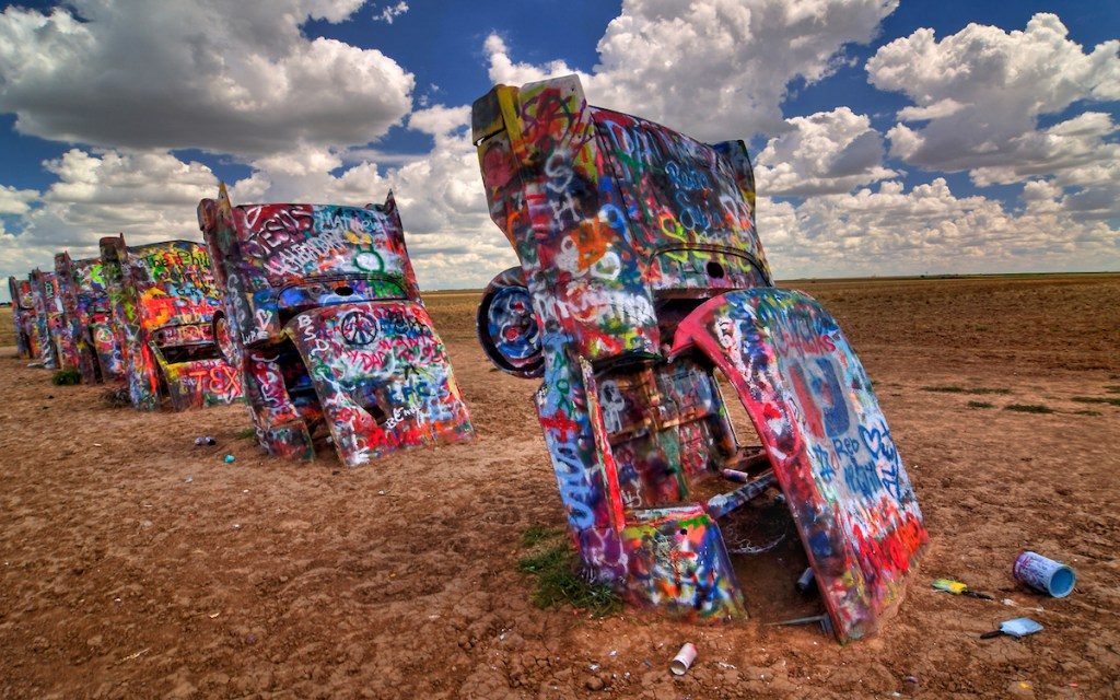 Cadillac Ranch art installation standing along Route 66 west of Amarillo, Texas.
