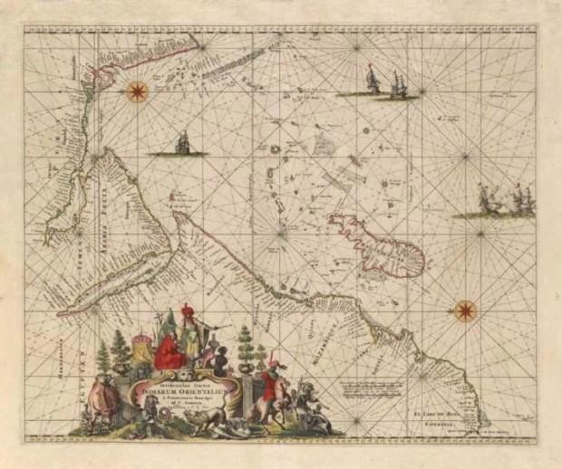 "Frederick de Wit, ""Portolan Chart Indiarum Orientalum,"" from Harmonia macrocosmica, plate 56 (Amsterdam, 1708)."