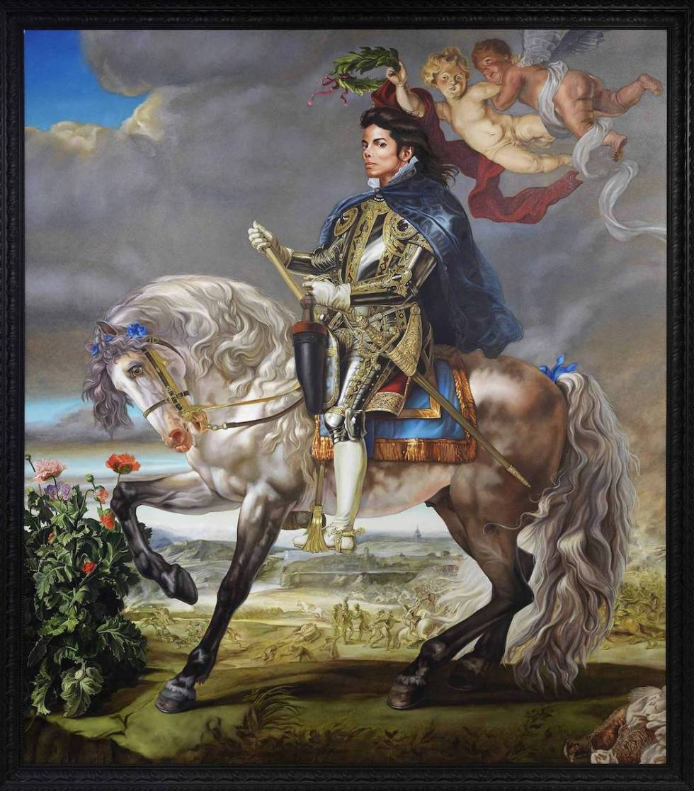 "Kehinde Wiley's never-displayed-before ""Equestrian Portrait of King Philip II (Michael Jackson)"", 2010."