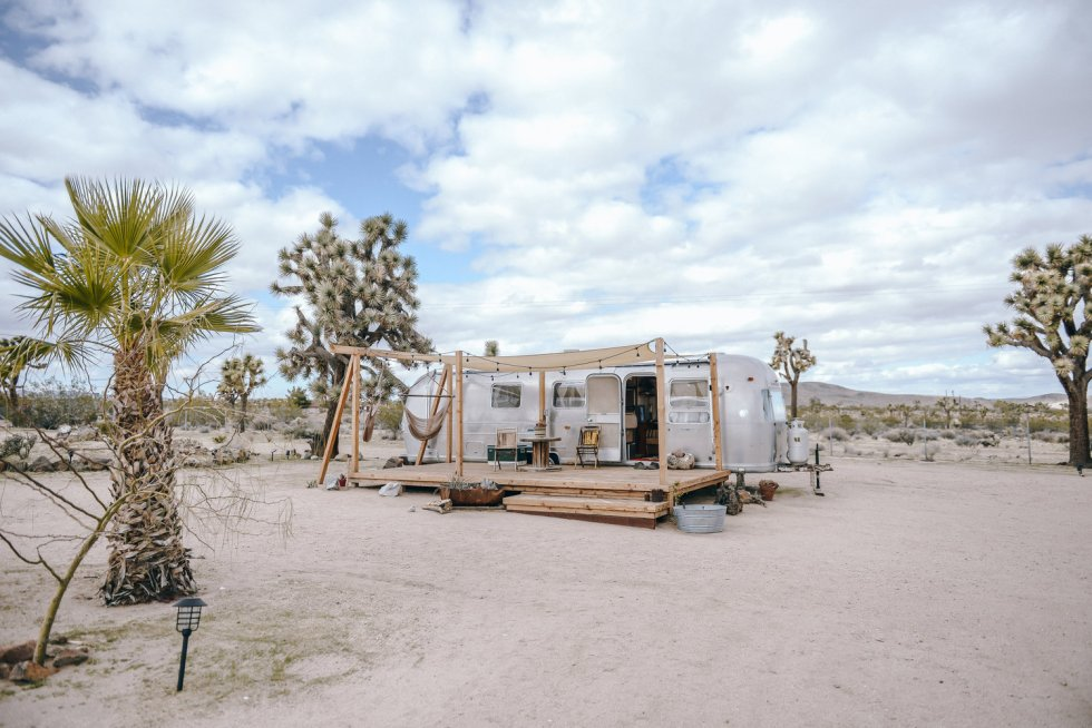"Photo of the ""1975 Piece of the Sky"" Airstream, Joshua Tree Acres, California, USA."