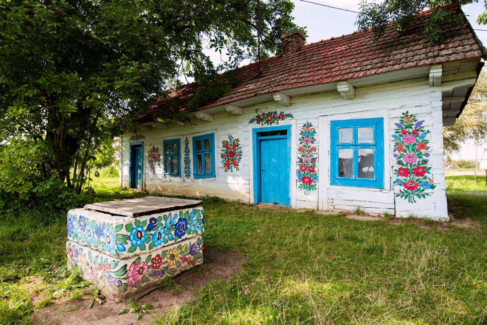 The former home of Polish folk artist Felicja Curyłowa in Zalipie, Poland.