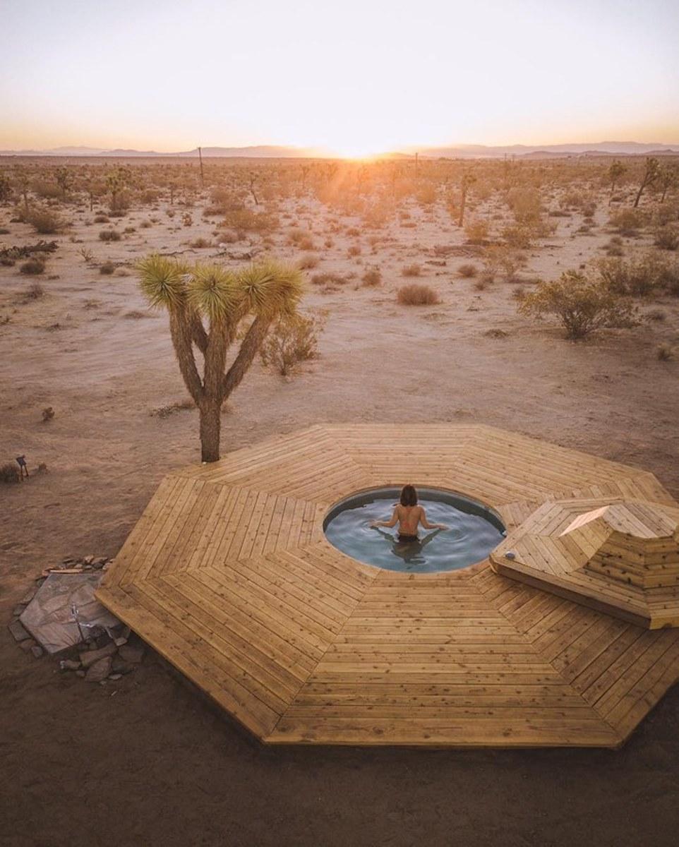 The solar salt water pool of Joshua Tree Acres in California, USA.