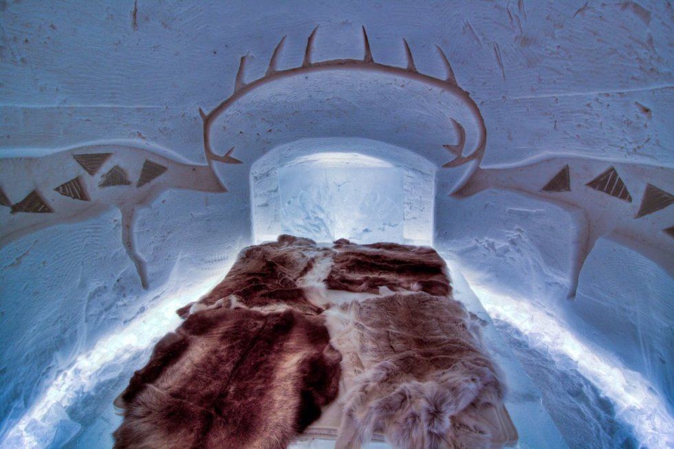 "A room inside the ""Arctic SnowHotel"" in Sinettä, Finland."