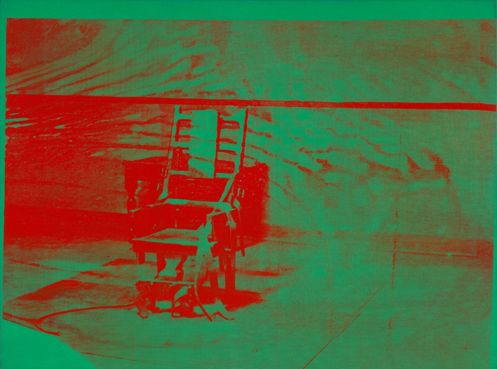 Andy Warhol (1928–1987), Big Electric Chair, 1967–68. Acrylic and silkscreen ink on linen, 54 1/8 x 73 1/4 in. (137.5 x 186.1 cm). The Art Institute of Chicago; gift of Edlis/Neeson Collection, 2015.128 © The Andy Warhol Foundation for the Visual Arts, Inc. / Artists Rights Society (ARS), New York
