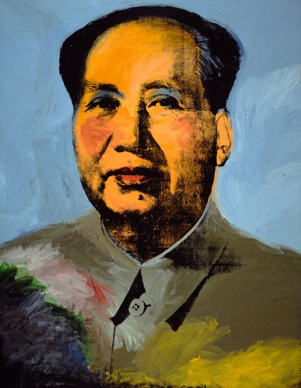 Andy Warhol (1928–1987), Mao, 1972. Acrylic, silkscreen ink, and graphite on linen, 14 ft. 8 1⁄2 in. x 11 ft. 4 1 ⁄2 in. (4.48 x 3.47 m). The Art Institute of Chicago; Mr. and Mrs. Frank G. Logan Purchase Prize and Wilson L. Mead funds, 1974.230 © The Andy Warhol Foundation for the Visual Arts, Inc. / Artists Rights Society (ARS) New York