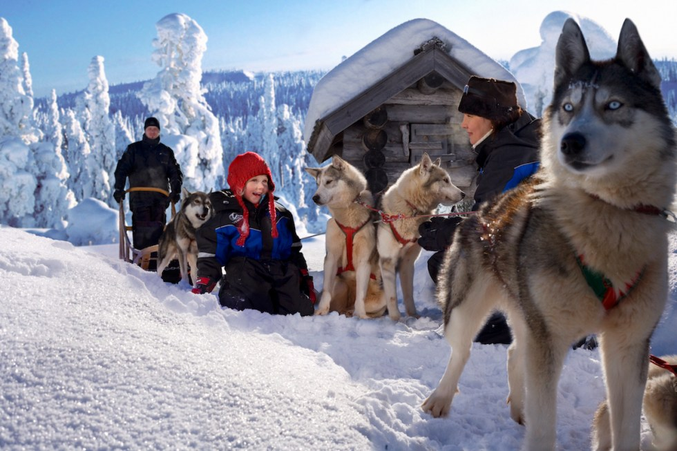 Family enjoying a husky ride at Santa Claus Village in Finland.