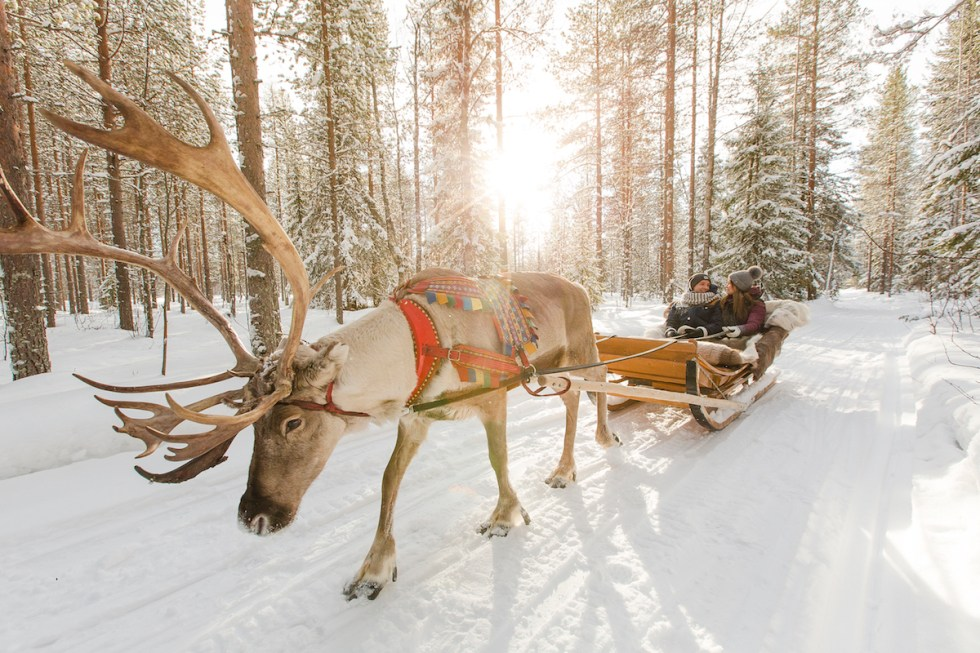 A couple enjoying a romantic reindeer sleigh ride in Santa Claus Village, Finland.