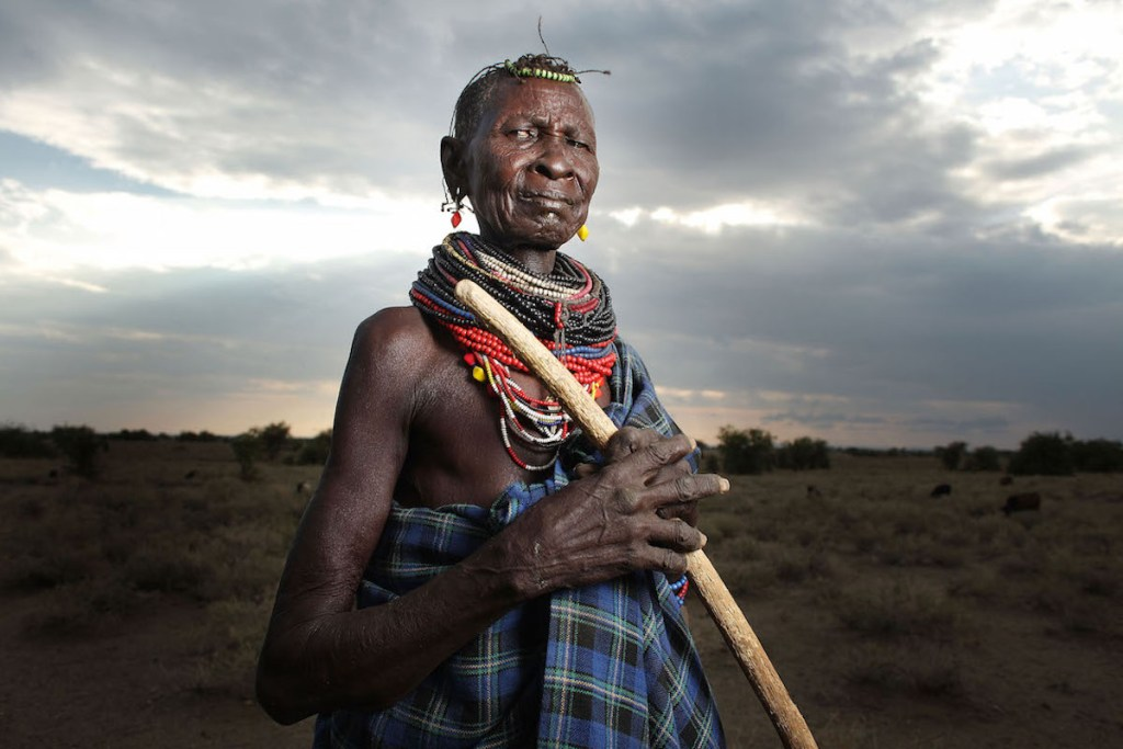 An old woman from the Turkana tribe in Northern Kenya, Africa.