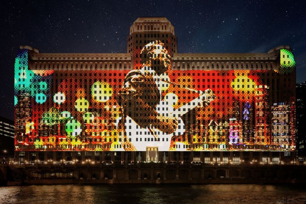 "The world's largest and longest-running digital projection system, titled ""Art on theMART"" in Chicago."