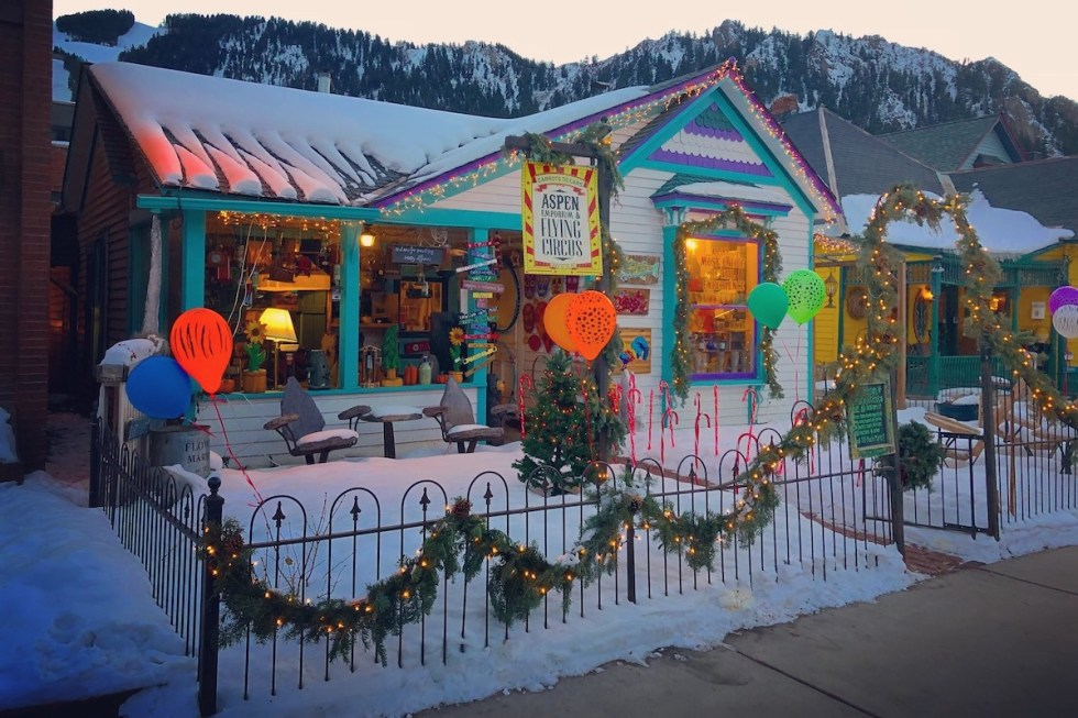 The exterior of Emporium and Flying Circus retail shop in Aspen, Colorado.